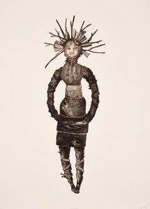 Bevan de Wet, 2008, Fetish Doll (Black), etching, 100x70cm