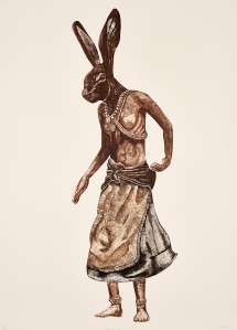Bevan de Wet, 2008, Zulu Dancer, etching, 100x70cm