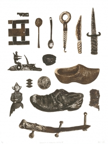 Bevan de Wet, 2011, Fragments of a Forgotten History III, etching, 76x56cm