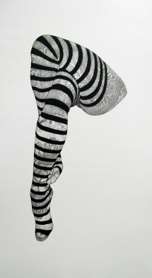 Bevan de Wet, 2011. Striped Stockings, 100cmx60cm, etching