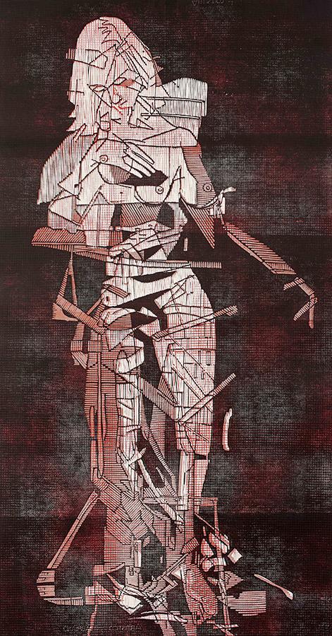 Bevan de Wet, 2014, Mod Venus (Unravel), linocut with monotype, 138x73cm