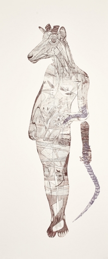 Bevan de Wet, 2014, Unlikely Allies II, etching, 200x84cm