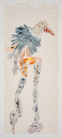 Bevan de Wet, 2014, Untitled (Birdman 2), collage in handmade paper), 140x62cm